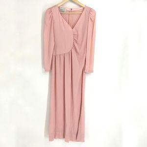 Vintage Pink Long Sleeve Maxi Dress